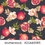 seamless pomegranate with... | Shutterstock .eps vector #421660585