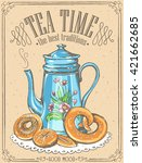 illustration with the words tea ... | Shutterstock .eps vector #421662685
