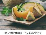 Fresh Sweet Orange Melon On Th...