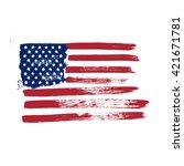 grunge flag of america on a... | Shutterstock .eps vector #421671781