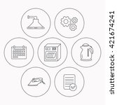 dishwasher  kettle and kitchen... | Shutterstock .eps vector #421674241