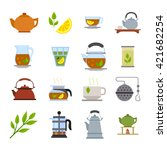 japanese tea ceremony icons.... | Shutterstock .eps vector #421682254