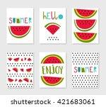 hello summer. set of cute... | Shutterstock .eps vector #421683061