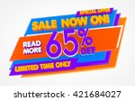 sale now on   65   off limited... | Shutterstock . vector #421684027