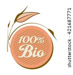 label or tag  100  bio food...   Shutterstock .eps vector #421687771