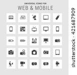 25 universal web and mobile... | Shutterstock .eps vector #421687909