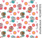 seamless pattern with cute... | Shutterstock .eps vector #421689331