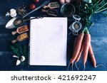 white blank recipe book in the... | Shutterstock . vector #421692247