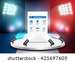 empty stage studio on soccer... | Shutterstock .eps vector #421697605