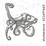 vintage graphic with octopus  ... | Shutterstock .eps vector #421697665