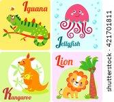 cute zoo alphabet in vector. i  ... | Shutterstock . vector #421701811