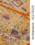 bank of england location on a street map - stock photo