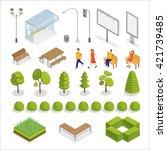 isometric city. isometric... | Shutterstock .eps vector #421739485