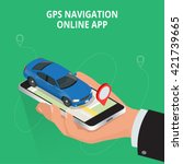 mobile gps navigation  travel... | Shutterstock .eps vector #421739665