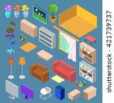 isometric furniture. isometric... | Shutterstock .eps vector #421739737
