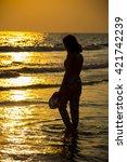 silhouette women sea blur... | Shutterstock . vector #421742239