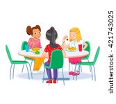 the children who eats lunch | Shutterstock .eps vector #421743025