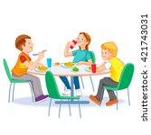 the children who eats lunch | Shutterstock .eps vector #421743031