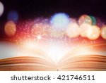 abstract magic book on wooden... | Shutterstock . vector #421746511