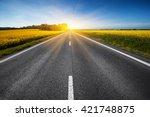 empty asphalt road and floral... | Shutterstock . vector #421748875