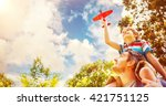 low angle view of a boy with... | Shutterstock . vector #421751125
