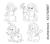 set of cute snowmen characters... | Shutterstock .eps vector #421760887