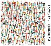 crowd of people  men  women ... | Shutterstock .eps vector #421761085