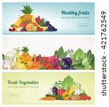fruit and vegetables banner set ... | Shutterstock .eps vector #421762549