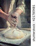 man baker and his hands over... | Shutterstock . vector #421785481