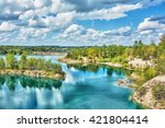 basalt lake in the woods on the ... | Shutterstock . vector #421804414