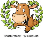 funny cow peeks out from behind ... | Shutterstock .eps vector #421806085