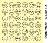 hand drawn set of emoticons.... | Shutterstock .eps vector #421806415