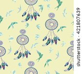 dreamcatcher  boho and birds  ... | Shutterstock .eps vector #421807639