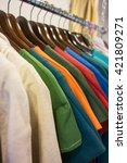 line of multi colored clothes... | Shutterstock . vector #421809271