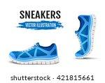 blue sport shoes for running.... | Shutterstock .eps vector #421815661