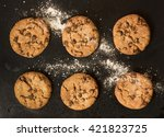 two rows of freshly baked... | Shutterstock . vector #421823725