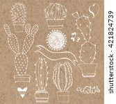vector cactus set. elements... | Shutterstock .eps vector #421824739