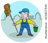 washer man  in a cartoon style  ... | Shutterstock .eps vector #421827544