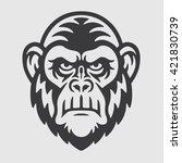 angry ape chimpanzee head logo...