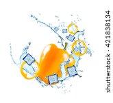 water splash with vegetable... | Shutterstock . vector #421838134