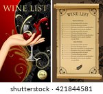 Wine List With Hand Holding A...