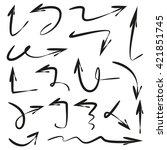 vector set arrows  hand drawn... | Shutterstock .eps vector #421851745