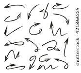 vector set arrows  hand drawn... | Shutterstock .eps vector #421866229