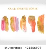 pink and gold glitter brush... | Shutterstock . vector #421866979