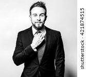 elegant stylish handsome man.... | Shutterstock . vector #421874515