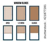 window blinds in open and... | Shutterstock .eps vector #421877281