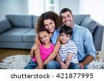 portrait of happy family... | Shutterstock . vector #421877995