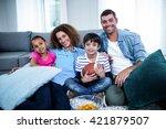 portrait of family watching... | Shutterstock . vector #421879507