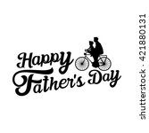 happy father's day with bicycle   Shutterstock .eps vector #421880131