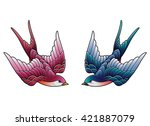 Stock vector two swallows 421887079